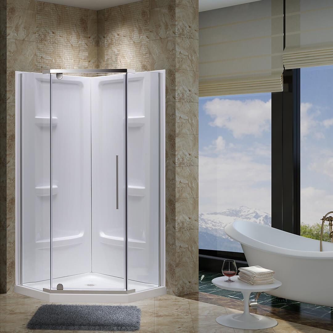 Aspen Neo Angle Shower Door With Base 38 In X 38 In Jade Bath