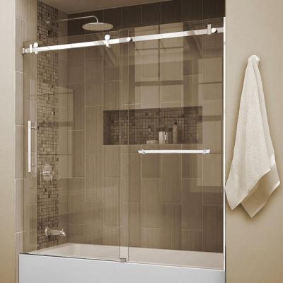 Quartz Bath Shield with Towel Bar